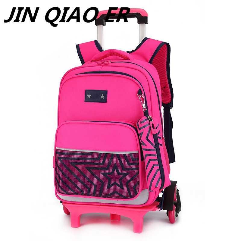 1724d3e30f44 Kids wheel Trolley school Backpack On wheels Girl Trolley School bags boys  Children s Travel luggage Rolling