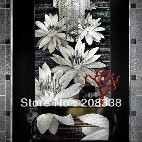 qara və ağ şüşə mozaika sənət şəkil giriş qapısı arxa - Ev dekoru - Fotoqrafiya 1