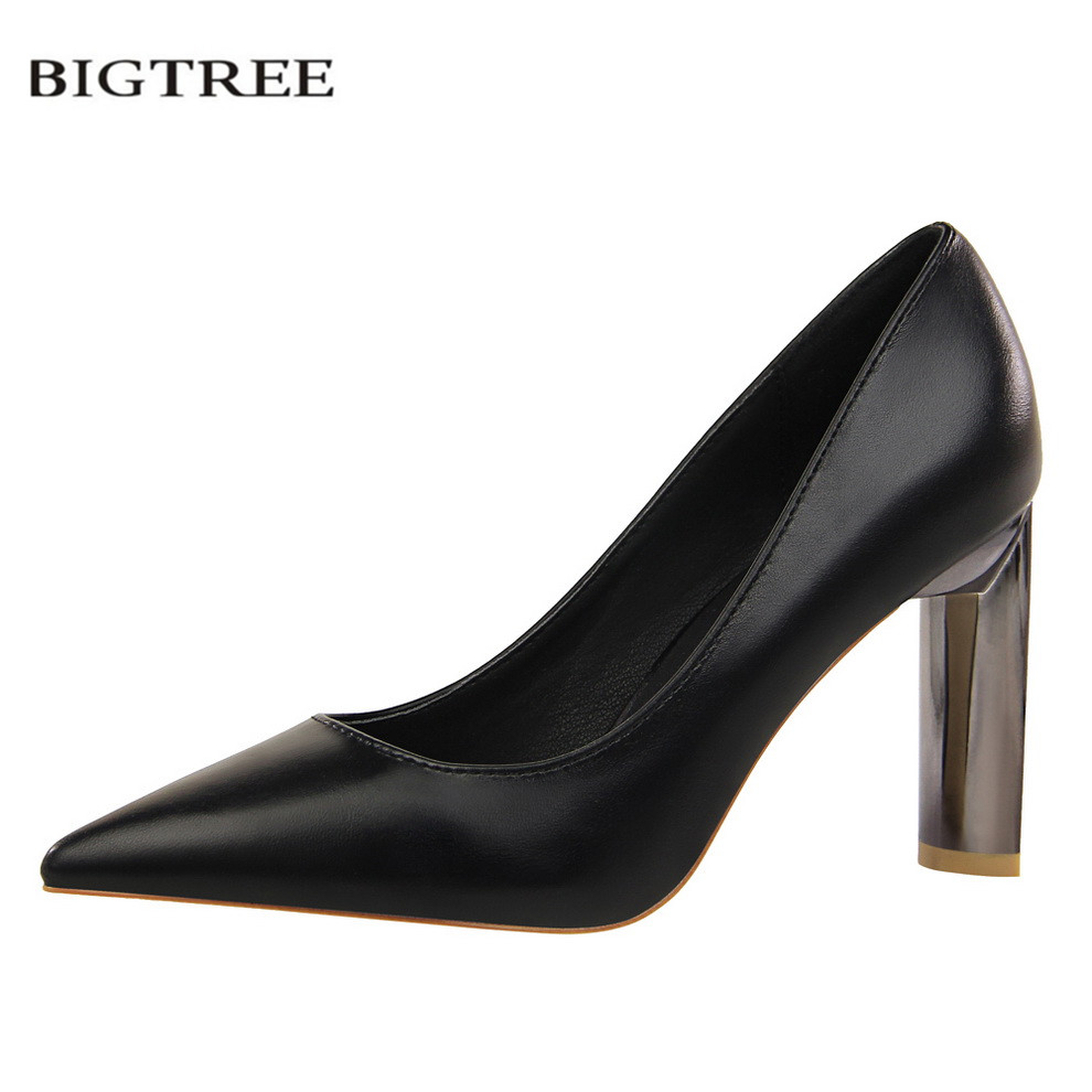 BIGTREE New Spring Pumps Thick Heeled Sexy Europe Fashion OL Metal Heel High Heels Shoes Shallow Mouth Single Women Shoes G122-1 [328] women autumn fashion shoes pu skin shallow low heeled shoes with high heel pointed shoes for ol lss 888