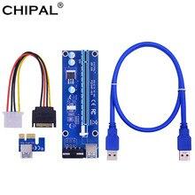 Chipal ver006 pci-e riser cartão 006 pci express x1 para x16 adaptador 0.6m usb 3.0 cabo sata 4pin power para mineração bitcoin mineiro