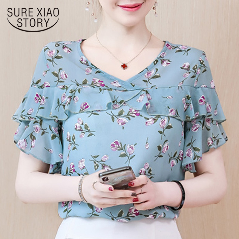 women's Summer   blouses   2019 Women Clothes print Chiffon   Blouse     shirts   women Short Sleeve V Neck Ladies Tops blusas mujer 4481 50