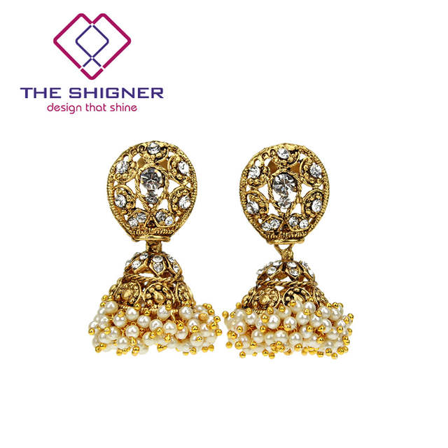 Online Shop THE SHIGNER Indian Tradition Jewelry Bombay Fashion Stylish  Fancy Party Wear Gold Color Pearl Jhumki Jhumka Dangle Earrings  e3c9dbb9dc59