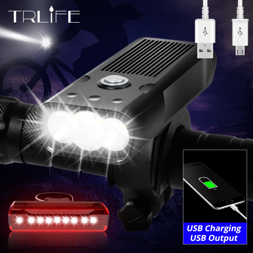 Built-In 5200mAh LED Headlamp Bicycle Light L2/T6 USB Rechargeable Power Bank 3Modes Bike Light Waterproof Headlight