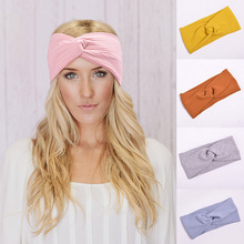 Hot Cotton Women Headbands New Turban Solid Color Girls Knot Makeup Elastic Hair Bands Twisted Knotted Headwrap