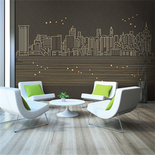 Custom 3d wallpaper simple atmospheric gold lines urban architecture TV background wall - silk waterproof material