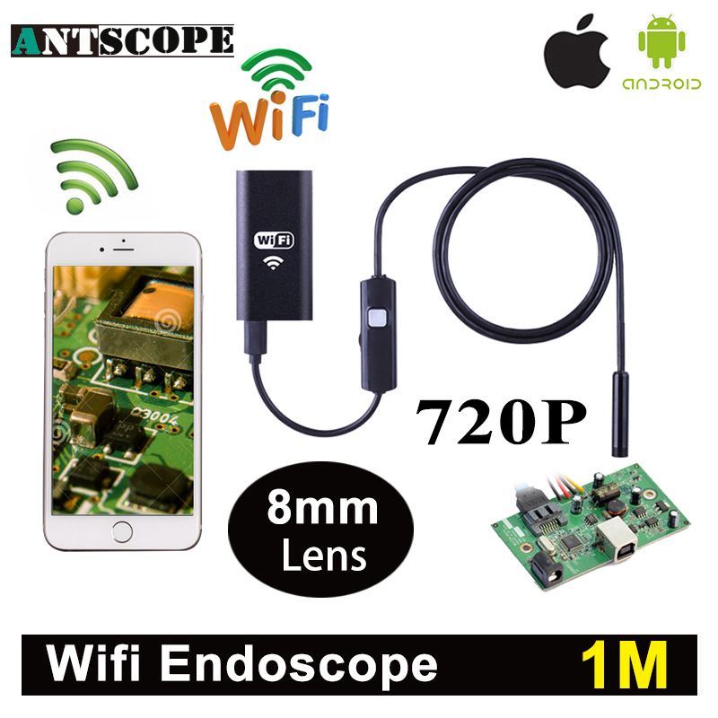 Antscope Wifi Iphone Endoscope Camera 1M Android Iphone Boroscope 720P Camera Endoscopio Android iOS Borescope Camera 35 wifi 4 9mm lens ear nose medical usb endoscope borescope inspection otoscope camera for ios android pc