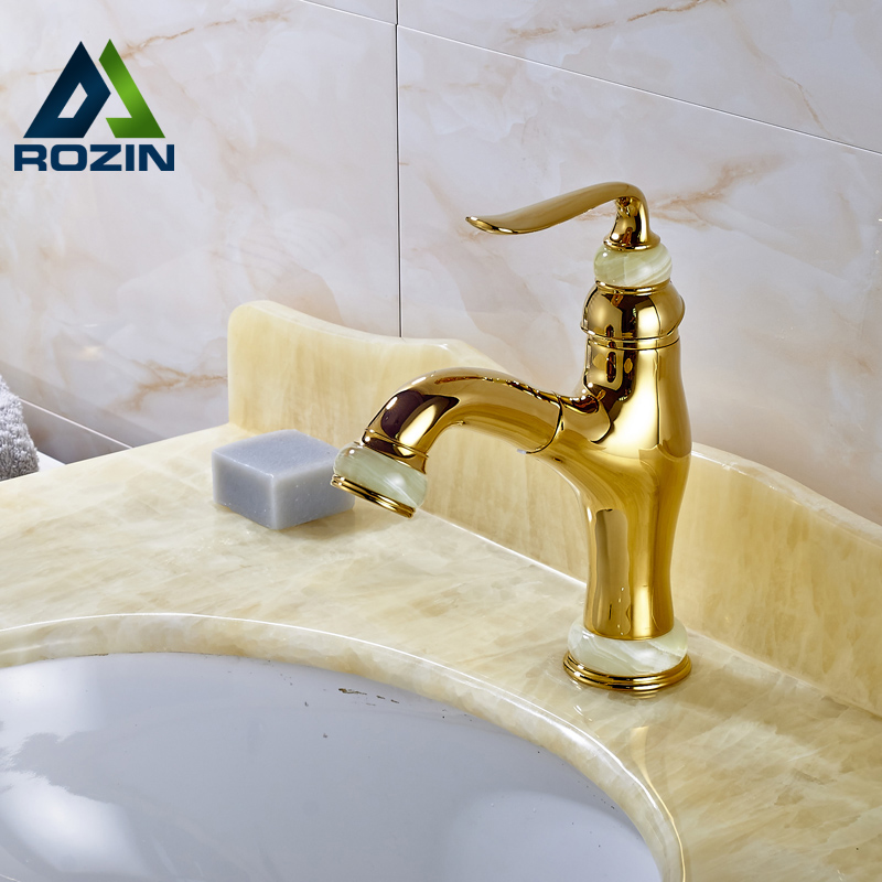 Free Shipping Golden Jade Basin Sink Faucet Single Lever Pull Out Bathroom Vanity Sink Mixer Taps Deck Mounted