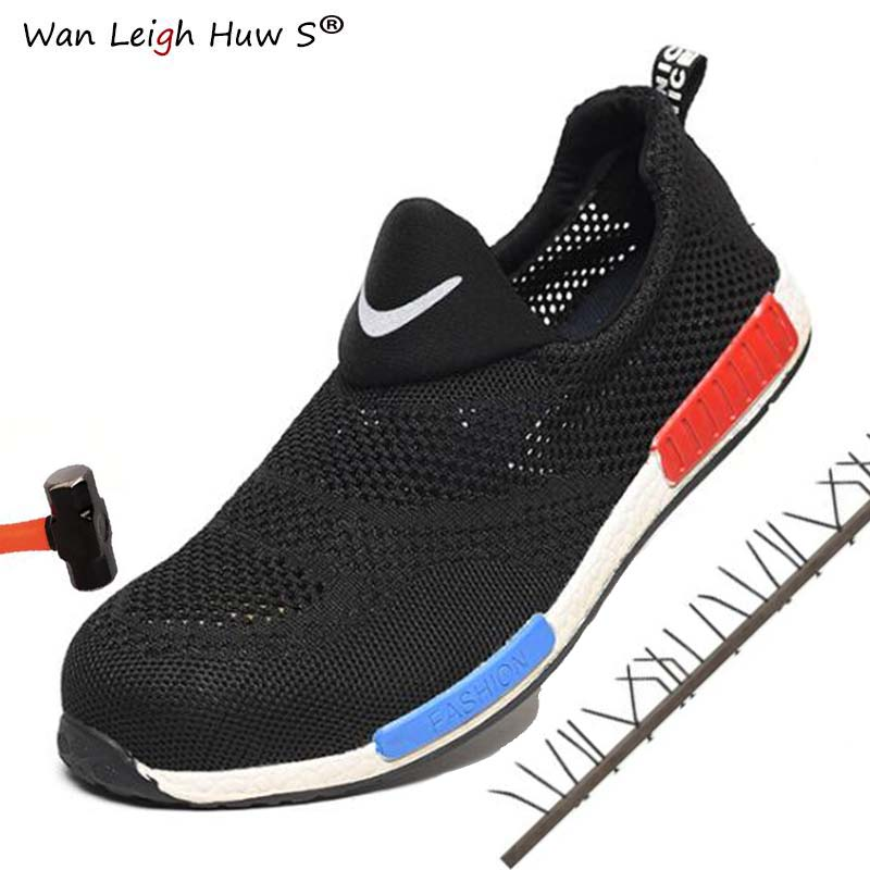 Wan Leigh Huw S Brand Steel Toe Cap Men Women work & safety boots summer lightweight impact resistant male shoes plus size 36 45