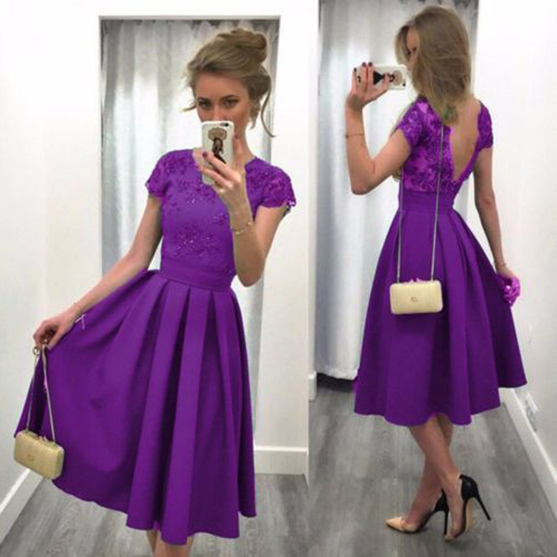 Purple Modest Satin Short Cocktail Party Dresses Cap Sleeves Party Dresses  Juniors Knee Length Low Back Cocktail Dress Gowns 0162be69c