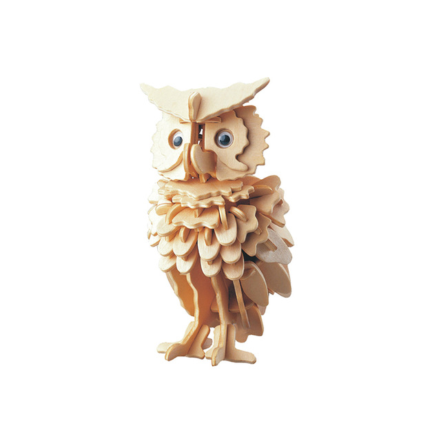 High Quality Wooden DIY Owl Shape Puzzle Toys For Children Magical Animals 3D Assemble Puzzle Birthday Xmas Gift For Kids Adults
