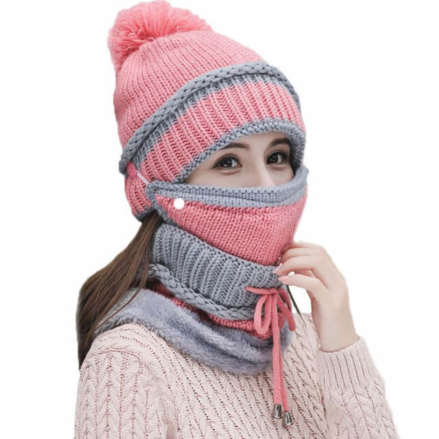 Hooded Twist Knit Woolen Blanket Head plush thick warm beanies +collar sets  women girl wear 591c9e77c973