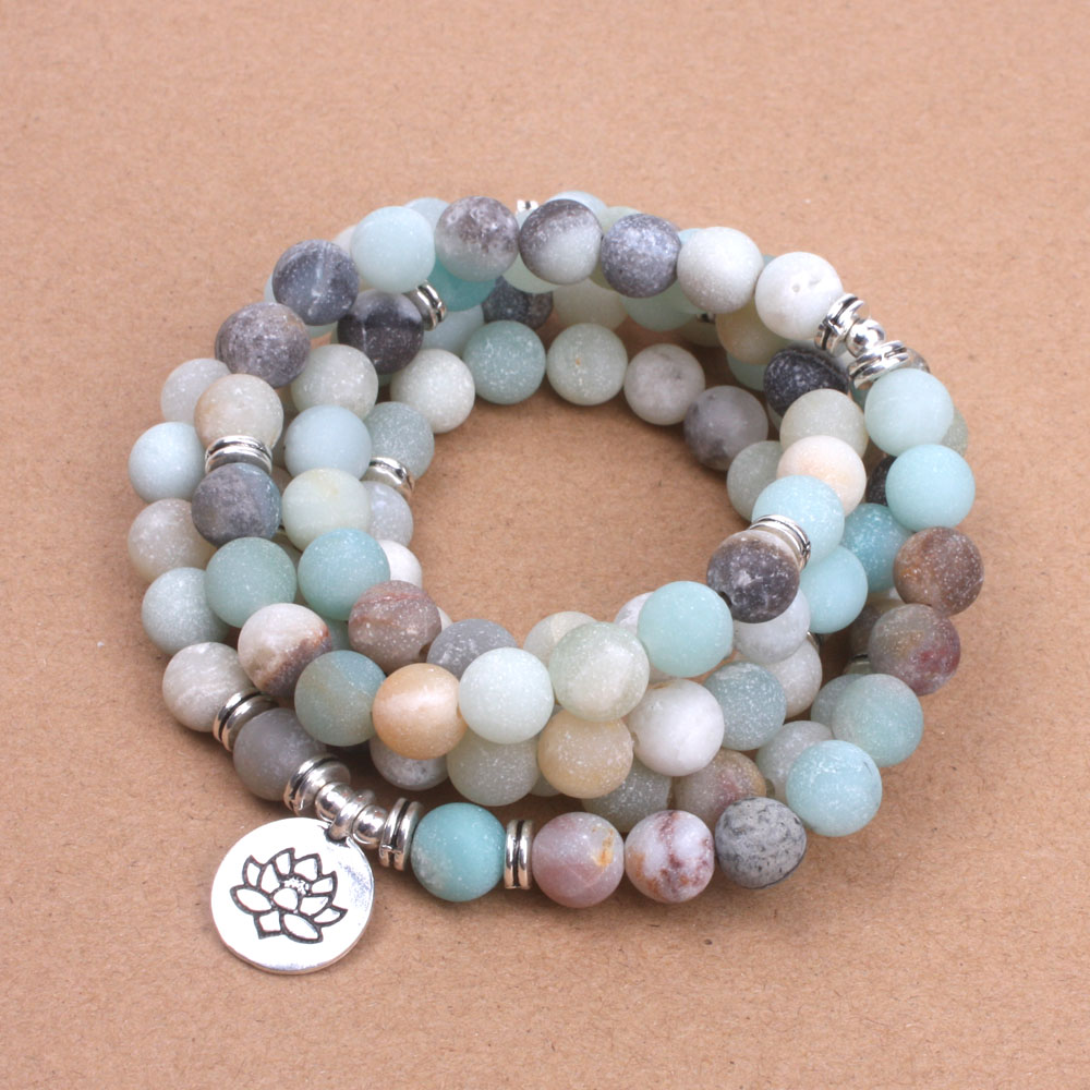 Damesmode armband Matte Frosted Amazoniet kralen met Lotus OM Boeddha Charme Yoga Armband 108 mala ketting dropshipping