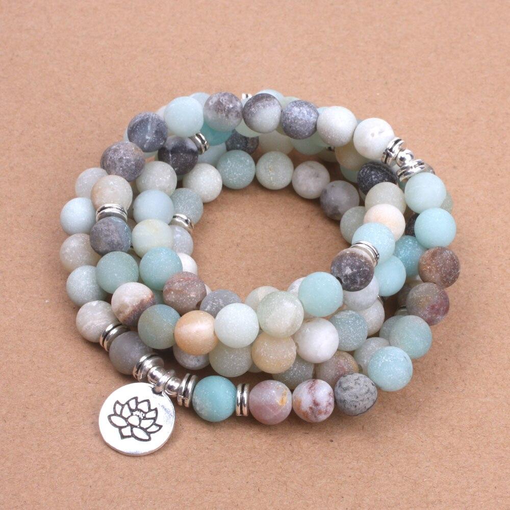 Fashion Women`s bracelet Matte Frosted Amazonite beads with Lotus OM Buddha Charm Yoga Bracelet 108 mala necklace dropshipping
