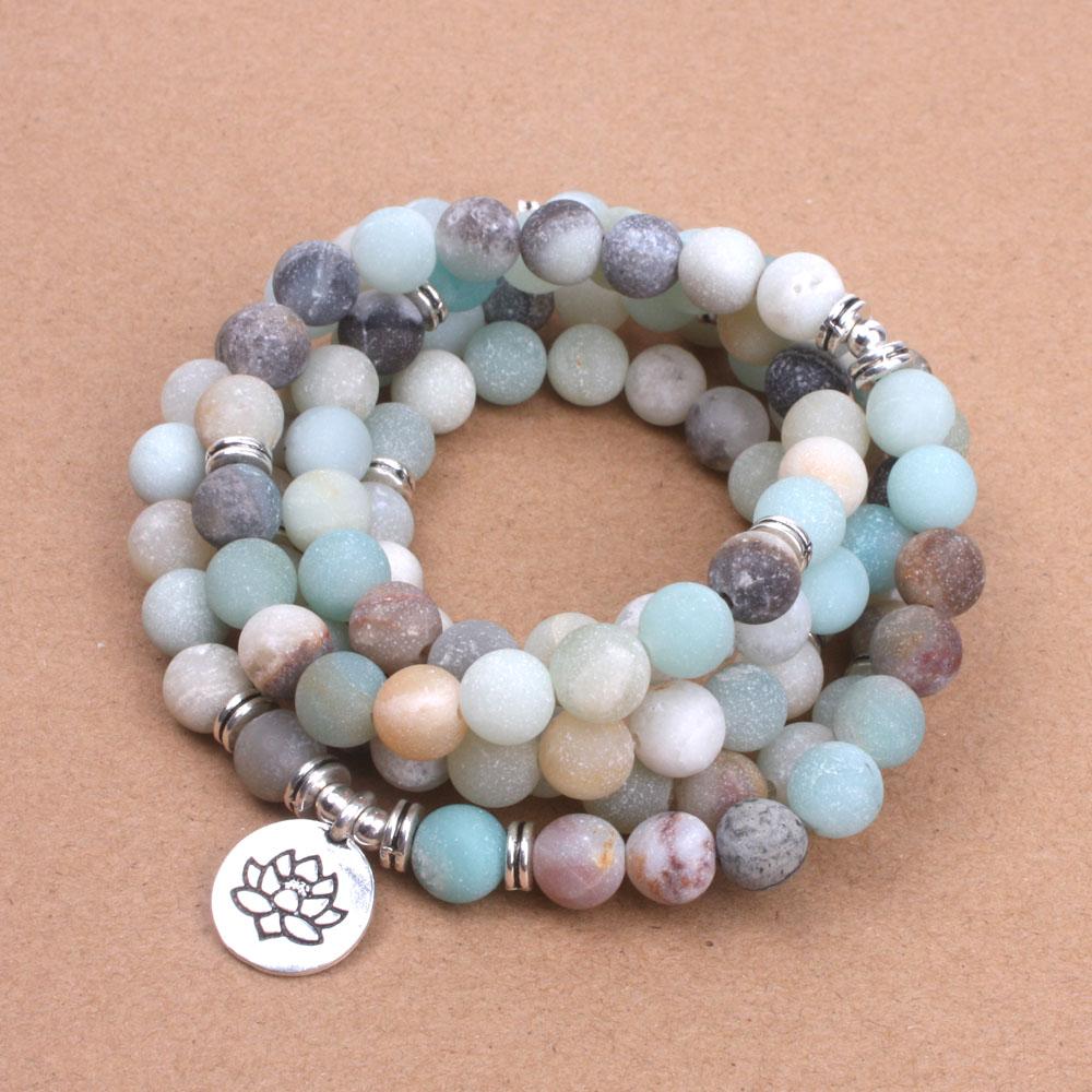 Fashion Women S Bracelet Matte Frosted Amazonite Beads With Lotus OM Buddha Charm Yoga Bracelet 108