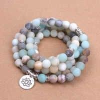 Mode femmes bracelet mat givré Amazonite perles avec Lotus OM bouddha breloque Yoga Bracelet 108 mala collier livraison directe