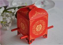 100 pieces Chinese Asian Style Red Double Happiness Sedan Chair Wedding favor box party gift candy