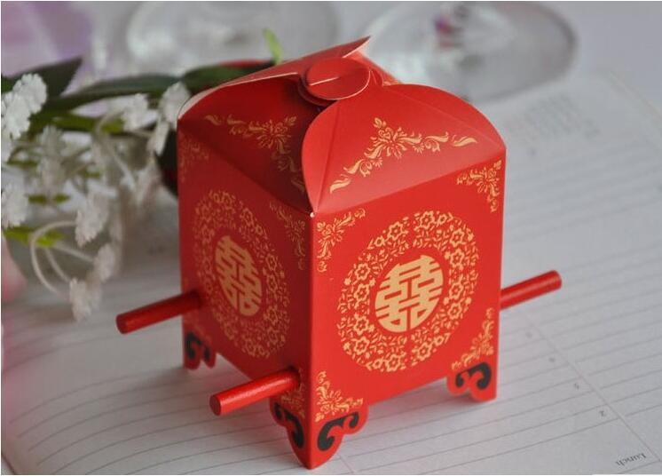 Chinese Asian Style Red Double Happiness Sedan Chair Wedding Favor Box 100pcs/lot Party Gift Favor Candy Box Easy To Lubricate Event & Party Festive & Party Supplies