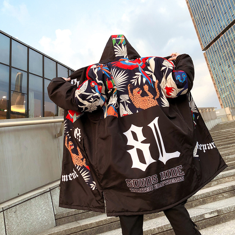 New Graffiti Printed Hooded Cotton Men   Parka   Winter Padded Long Outerwear Hip Hop Loose Thicken Mens Jackets and Coats YT50152