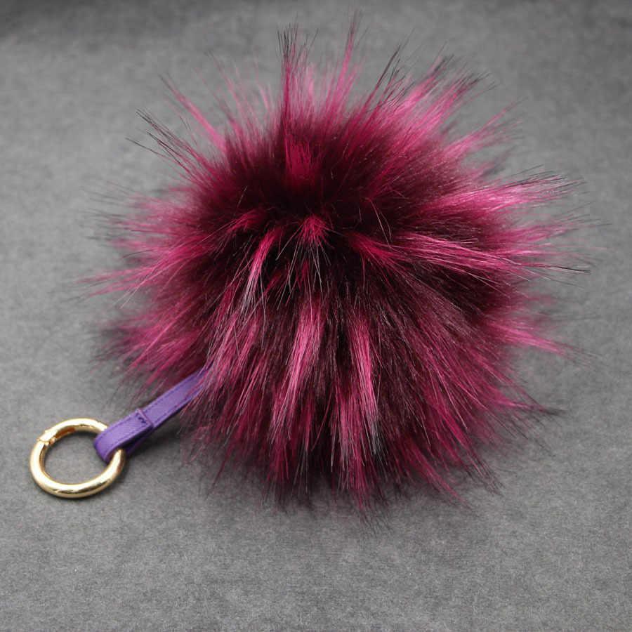 Luxo 15 cm Fofo Falso Chaveiro Bola De Pele De Guaxinim Pele Real Keychain Pom pom Pompom Da Corrente Chave Chaveiro Saco Pendente do Encanto Das Mulheres Dezembro