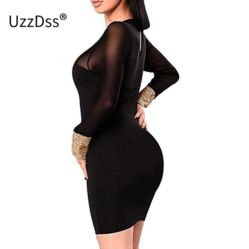 bff49c7ca8f UZZDSS Women Black Mesh Dresses Autumn Long Sleeve Short Pencil Dress Sexy  v Neck See Through Party Club Dress Robe Femme-in Dresses from Women s  Clothing ...