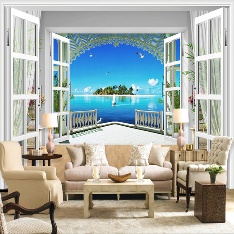 Custom Mural Wallpaper 3D Stereo Window Seagull Island Seaside Landscape Photo Wall Mura ...