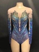 Для женщин новые блестящие стразы сетки боди вечерние сексуальный костюм танцевальное шоу ночной клуб певица одежда видеть сквозь трико