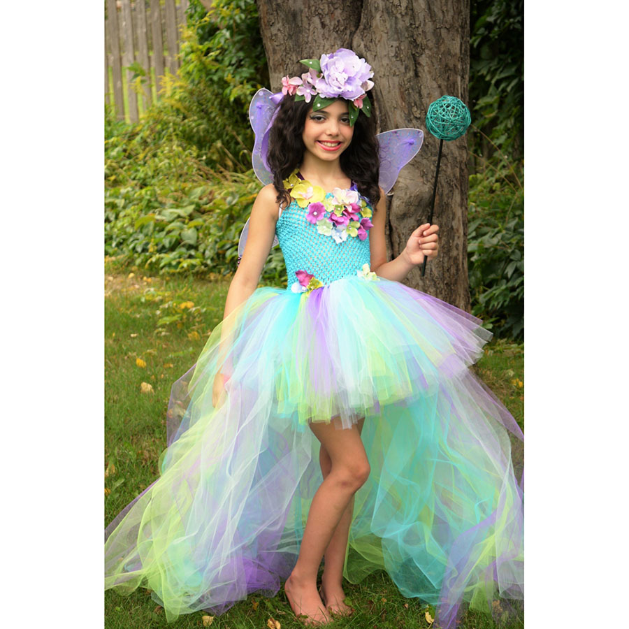 Kids Princess Multi Colored Flowers Long Tail Tutu Dress Baby Girls (13)