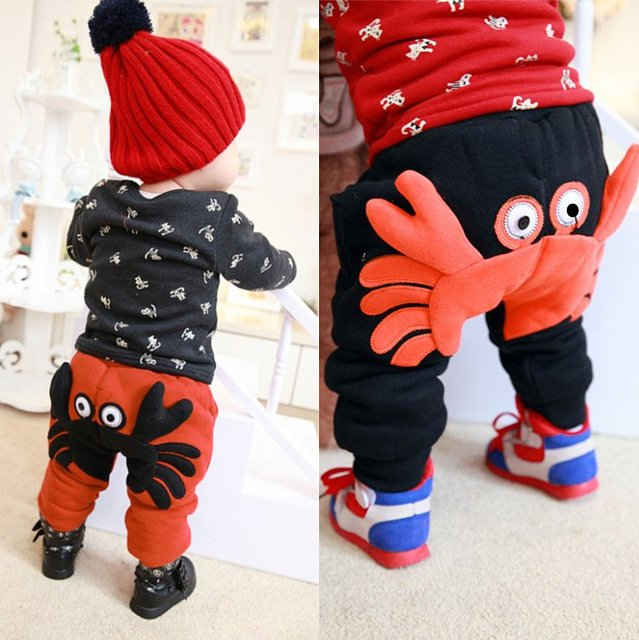 Infants and children baby warm pants thickening boy girl harem pants children's clothing plus velvet trousers