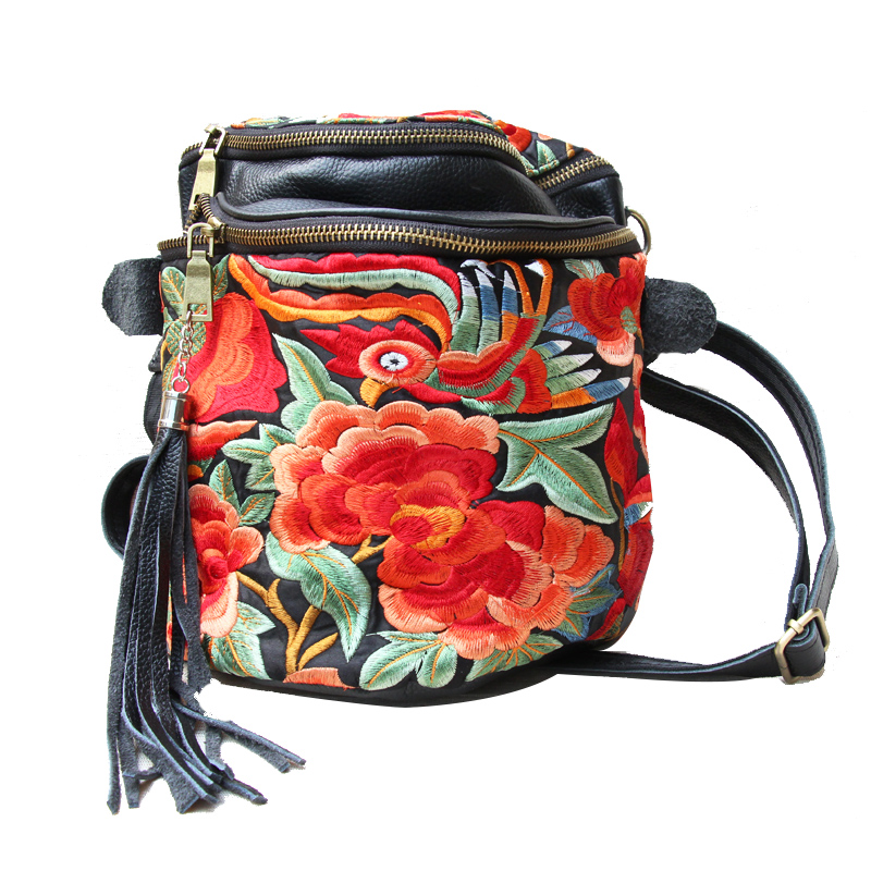 ETAILL New Genuine Leather Embroidery Bucket Bags with Tassel Small Chinese Hmong Flower Thailand Embroidered Shoulder Bags