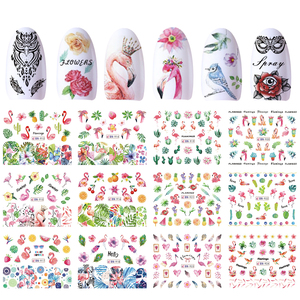 Image 2 - 12 Designs Nail Polish Sticker Water Decal Flamingo Flowers Harajuku Owl Transfer Decoration Manicure Tattoo Tips JIBN913 984 1