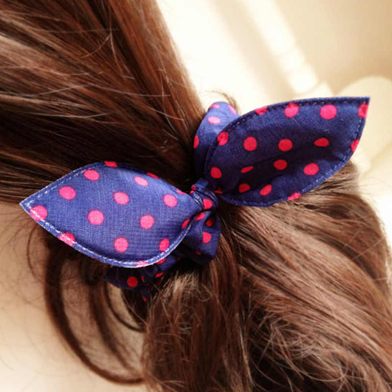 Wholesale New 25 Styles Women Girls Cute Rabbit Ears Elastic Hair Bands Ponytail Holder Hair Ropes Rubber Bands Hair Accessories