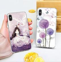 Цветной корпус для iphone X XS случае Роскошные прекрасный башня цветок красивая девушка мягкий, с рисунком, из термопластичного полиуретана Телефон Чехол