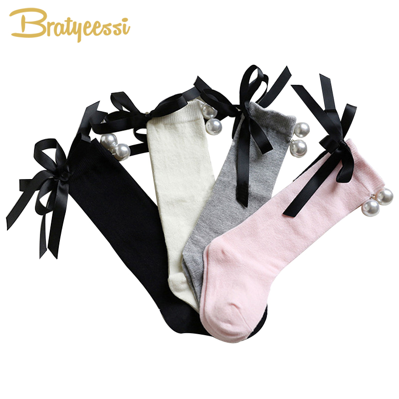 Princess Knee Socks for Children Sweet Bow Pearls Cotton Baby Girls Socks for 0-7 Years 4 Colors