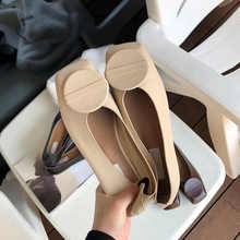 2019 Spring Women Flats Square Toe Round Decor Loafers Leather Shoes Ladies Casual Slip On Flats Shoes Office Shallow Shoes