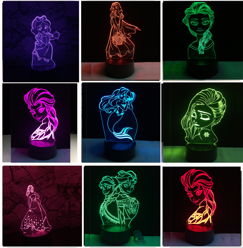 3D Elegant Fairy Tale Mermaid Princess Snow illusion LED Baby Night Light RGB Lighting Bedroom Lampda Home Decor Girls Xmas Gift ...