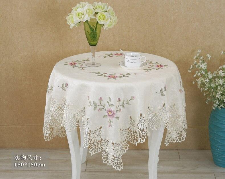 comprar vezon satinado elegante punto de cruz bordado mantel de encaje bordado ropa de mesa cubierta de tela decoracin