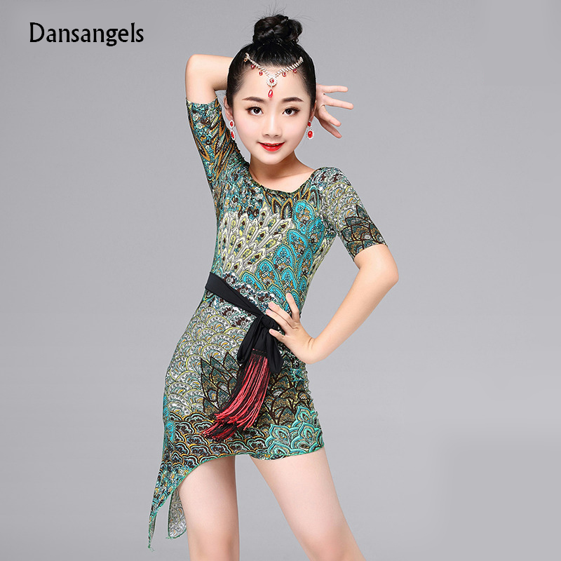 Dansangels New Peacock Green Latin dance one piece dresses for little girl children ballroom costume performance