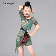 Dansangels New Peacock Green Latin dance one-piece dresses for little girl/children, ballroom costume performance wears MD7113