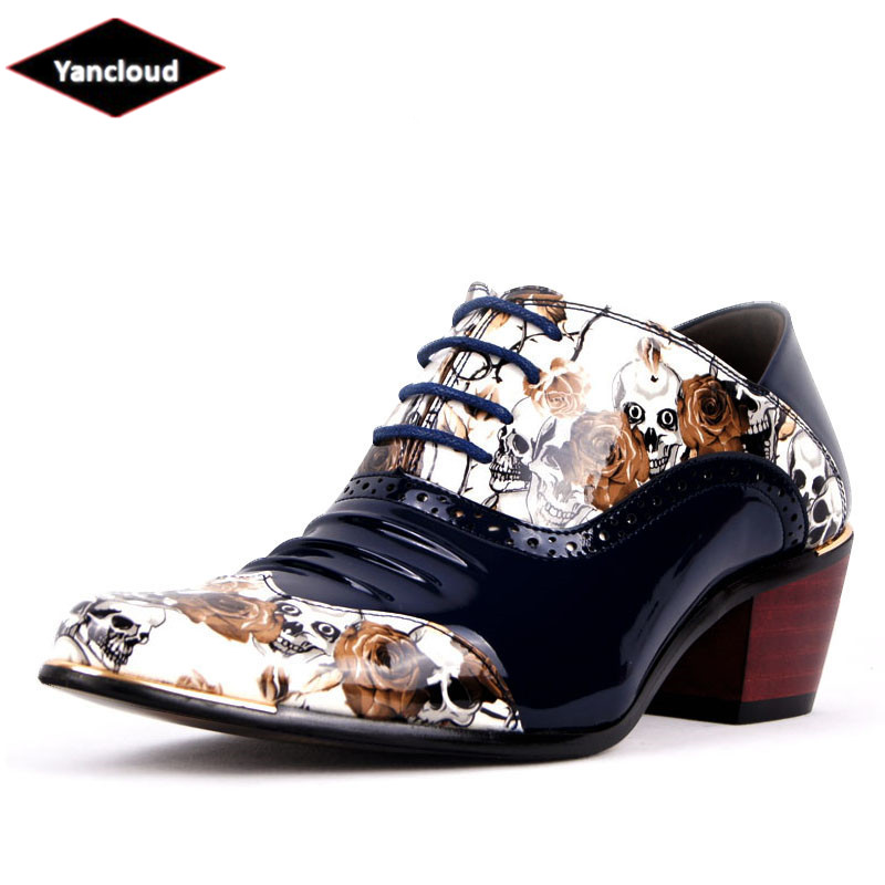 Verni Plissée Hauteur Chaussures Cuir 2019 Blanc Pointu Pour Oxford Hommes Habillées En Mariage Noir Crâne Floral blanc Augmenter De bleu OqSwxXtz