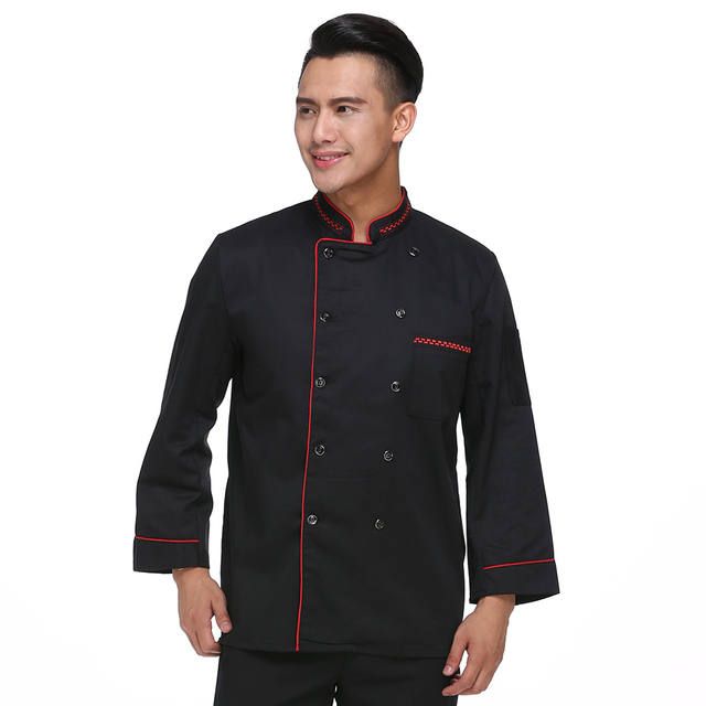 Nueva negro doble breasted de manga larga chef uniforme