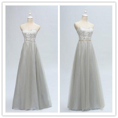 Vintage Lace Strapless Detachable Metal Belt Decorated Beach Wedding   Bridesmaid     Dress   770