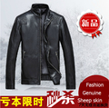 Free shipping !!! Genuine leather clothing men's stand collar slim short design 2014 autumn sheep leather jacket coat / M-4XL
