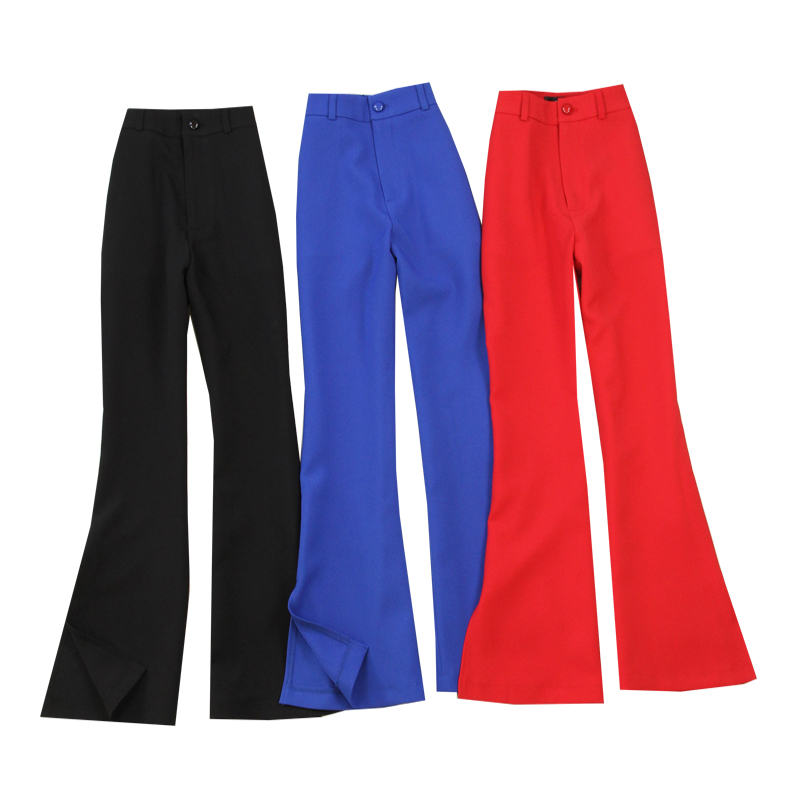 summer Women formal office work pants plus size Female black Flare pants OL fashion black Red Blue pants High waist trousers