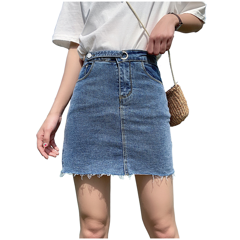 Summer High Waist Blue Tassel Mini Denim Skirts Women Jeans Skirt A-line Belt 2019 Fashion High Street Elegant Saias Femininas
