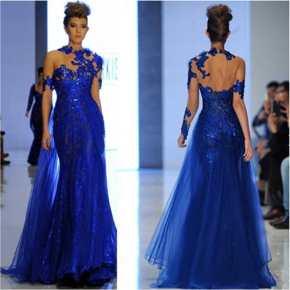 Royal Blue Runway Evening Dresses Appliques Lace Long Sleeve Backed ...