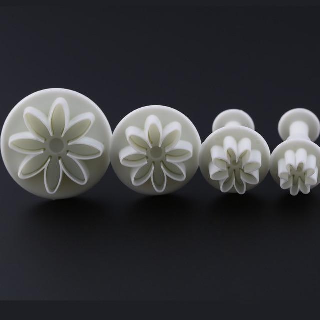 4pcs Set Daisy Flower Sunflower Plunger Cutter Decorating Tools Cake Mould Kitchen Fondant Accessories Mold H721