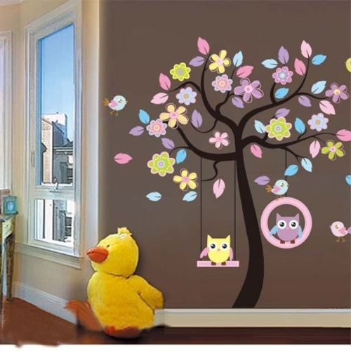 Cheeky Owls Bird Swing wall stickers for kids room decorations animal decals bedroom removable tree wall art children stikcer