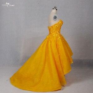 Image 3 - Lz151 alibaba querida laço vestido amarelo real floral alta baixa vestido de baile vestidos