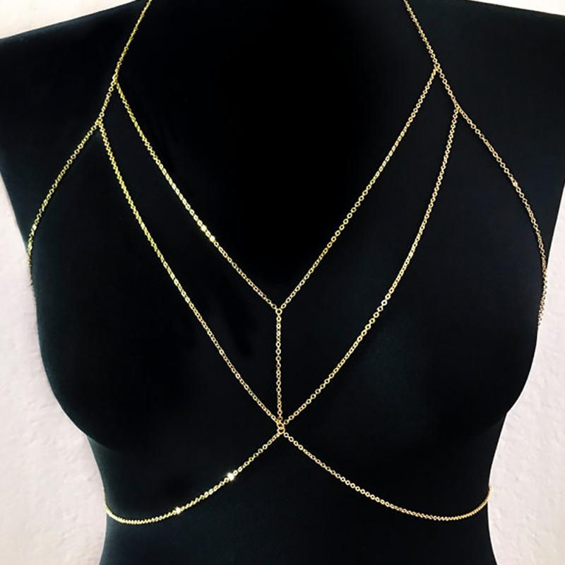 New High Quality Women Rhinestone Crystal Gold/Silver Cross Body Chain Fashion Bra Chest Chain Jewelry(China)
