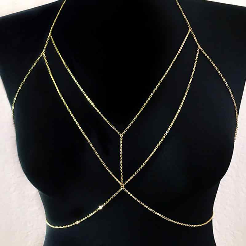 New High Quality Women Rhinestone Crystal Gold/Silver Cross Body Chain Fashion Bra Chest Chain Jewelry
